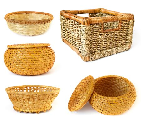 Collection of baskets isolated on white background Stock Photo
