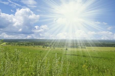 non urban: Bright summers day. Non urban sunny landscape Stock Photo