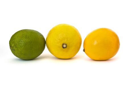 yeloow: Lime and lemons isolated on white background Stock Photo