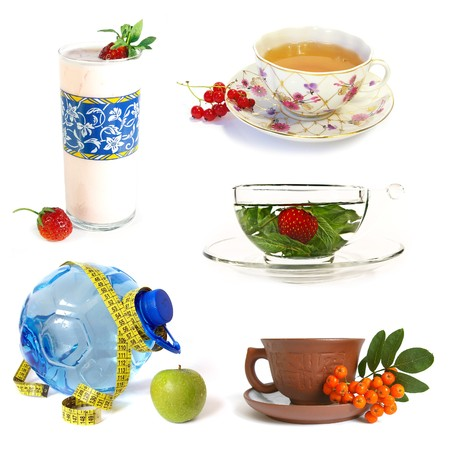 Collection of healthy drinks on white background Stock Photo - 4314131