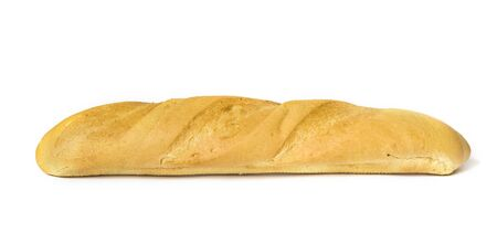 baguet: Fresh-baked long loaf on a white background