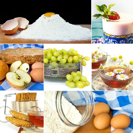 bacca: Desserts collage. Food ingredients and ready to eat food