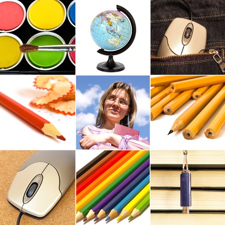 Group of education theme people and objects  Stock Photo - 4375003