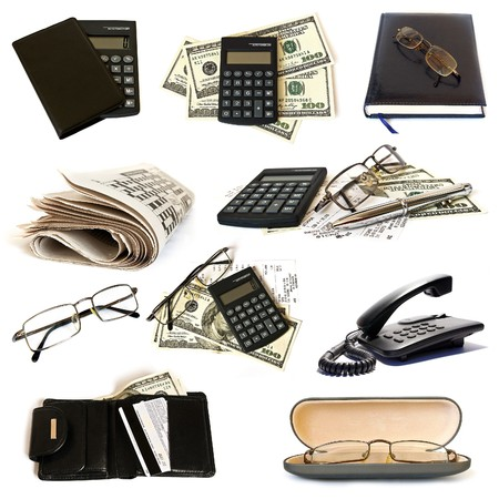 debt collection: Collection of business objects on white background