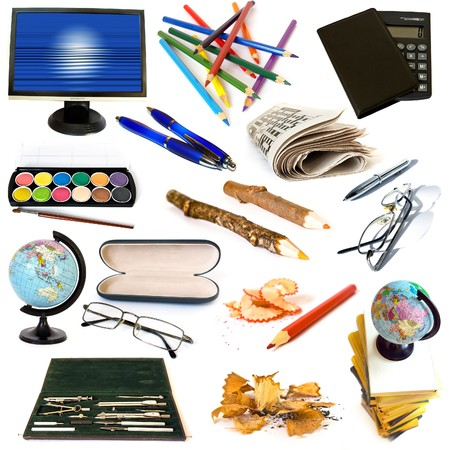 Group of education theme objects isolated on white background Stock Photo