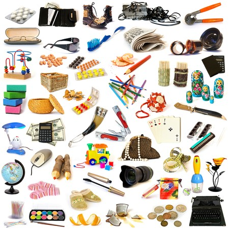 Big collection of objects isolated on white photo