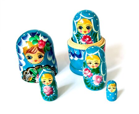 Russian dolls isolated on a white background photo