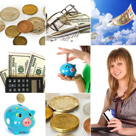 Money concept collage. Different types of the money photo