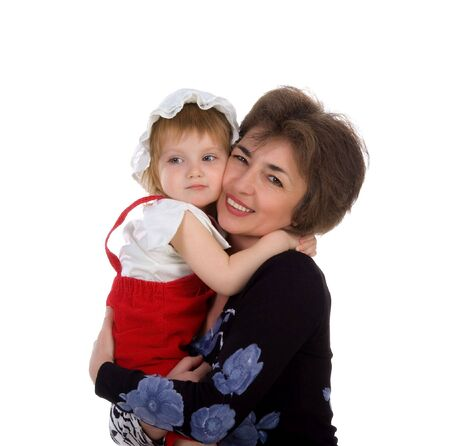 Grandmother hold her small daughter. Studio isolated Stock Photo - 4673641