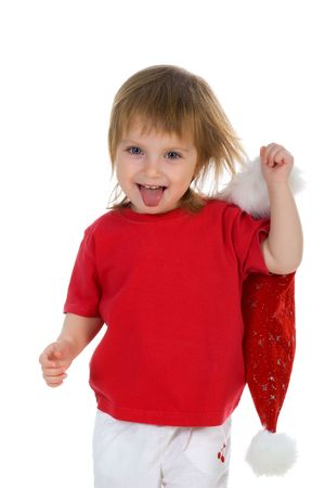 Cute little girl and santa claus hat.  photo