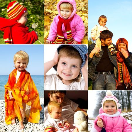 Happy childhood concept. Collection of little girl photos