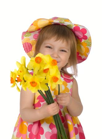 Cute little girl giving flowers. Studio shot Stock Photo - 4810002