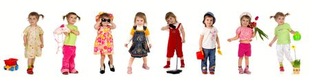 Collection photos of cute little girl on white background photo