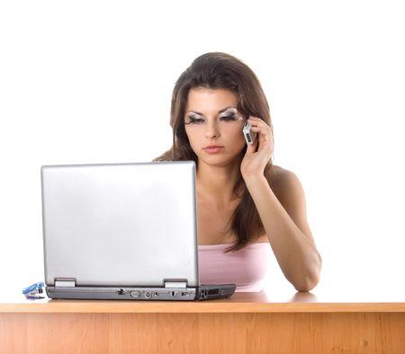 Pretty secretary with phone. White background photo