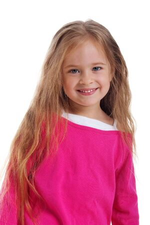 little girl smiling: Cute little girl with long hair isolated on a white background