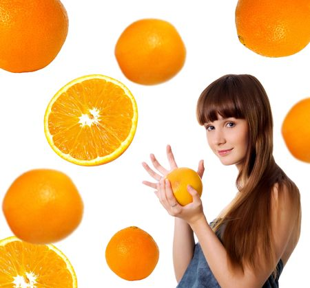 Happy young woman with grapefruit. Studio shot photo
