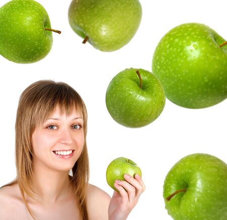 Pretty woman with apple on white background photo