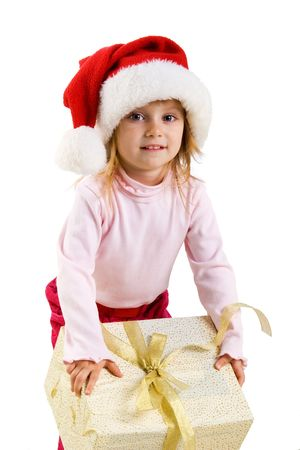 Cute girl with a xmas gift. Isolated on wite Stock Photo