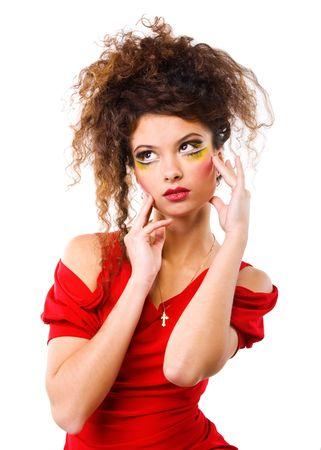 Elegance women with fashion make-up on white background photo