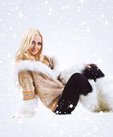 Eskimo pretty women isolated on a white background photo