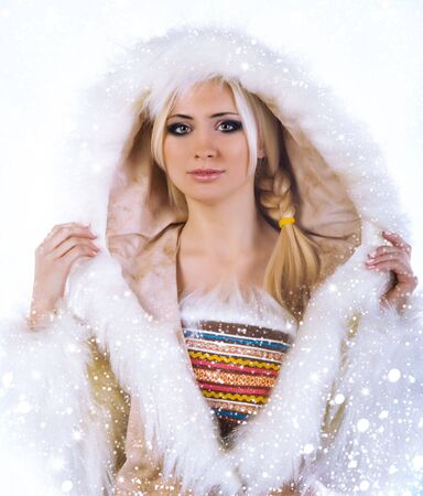 eskimo: Eskimo pretty women isolated on a white background Stock Photo