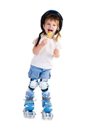 patines: Ni�a en patines con bon-bon. Estudio de disparo