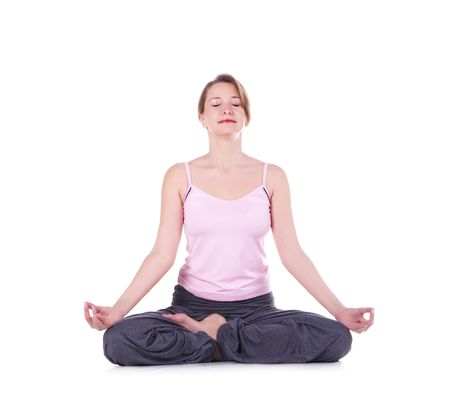 woman meditating: Woman meditating on a white background.