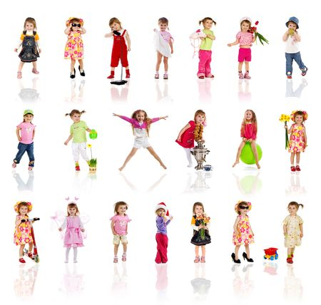 Collection photos of cute little girl on white background Stock Photo - 6319800