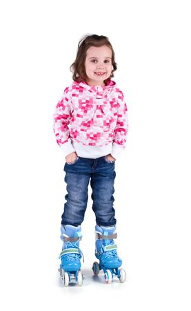 roller skates: Little girl in roller skates. Studio shot