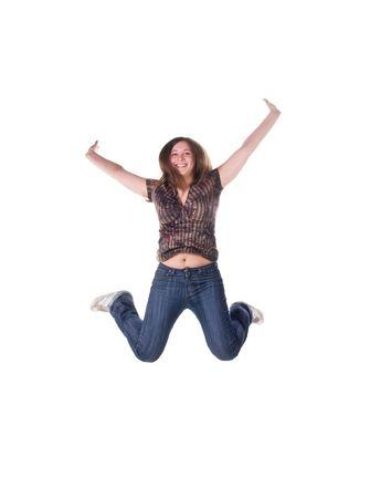 Beautiful jumping girl isolated on white background Stock Photo - 6310693