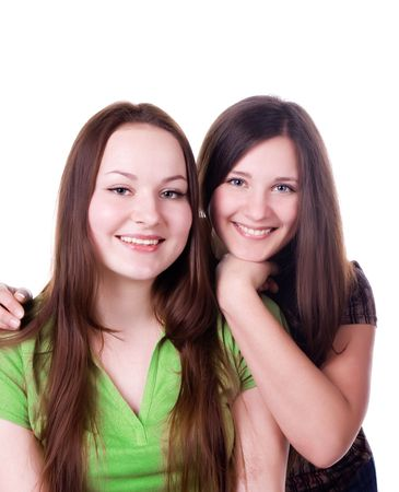 Two sisters isolated on a white background Stock Photo - 6310697
