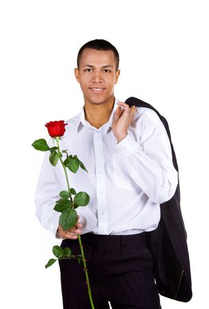Young men with the red rose on white background Stock Photo - 6310702