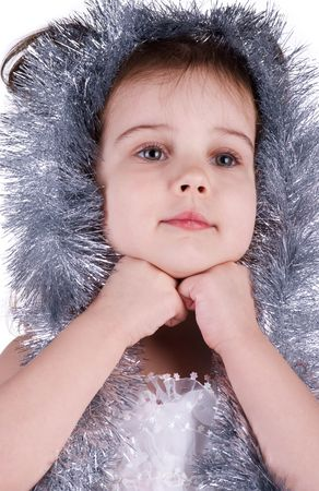 Little girl in fairy costume on white background Stock Photo - 6310714