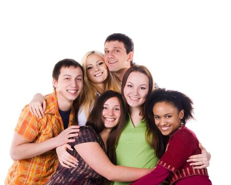 adolescentes estudiando: Grupo de estudiantes de abrazo aislados sobre fondo blanco