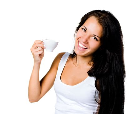 Pretty young women with the cup of coffe on white photo