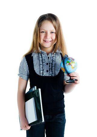 terrestrial globe: Cute schoolchild with terrestrial globe and notebooks on white