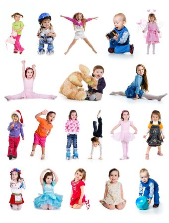 Set of cute little children isolated on white Stock Photo - 6690462