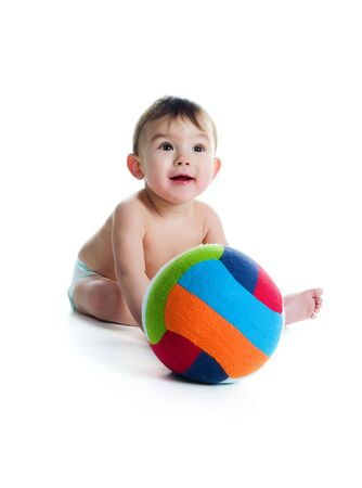 Little boy with the ball on white background  photo