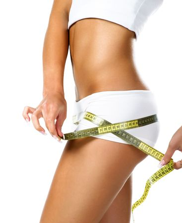 Woman measuring perfect shape of beautiful hips. Healthy lifestyles concept  photo