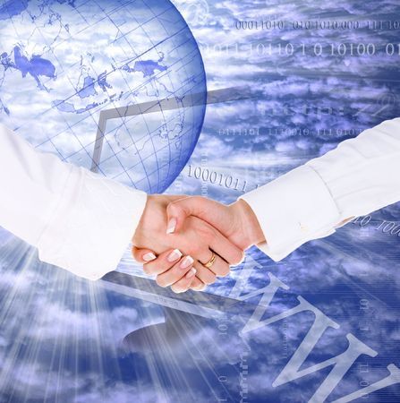 Business handshake on the internet concept background photo