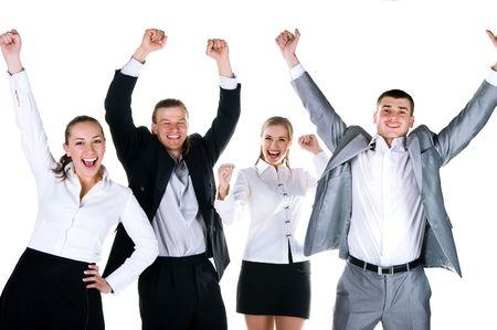 excitment: Equipo feliz. Cuatro pueblos están sonriendo. Estudio de disparo
