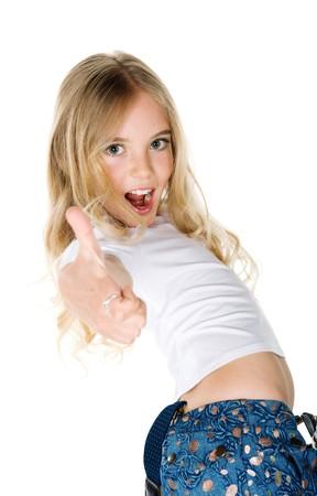 cute braces: beautiful joy girl show the thumb on white background