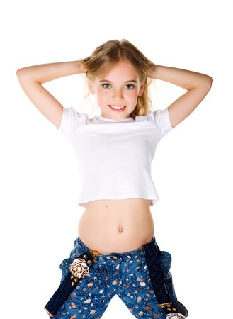 cute braces: beautiful little fashion model on white background Stock Photo