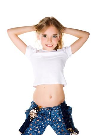 cute braces: beautiful little fashion model on white background Stock Photo