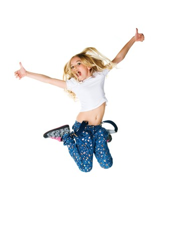 Cute little girl jump. Studio shot. White background photo