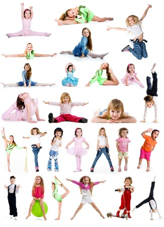 Collection photos of cute little girls on white background photo