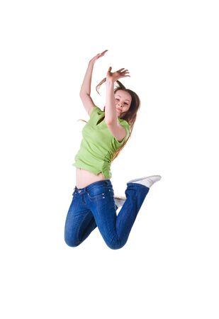 Beautiful jumping girl isolated on white background photo