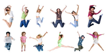 Collection photos of jumping people photo