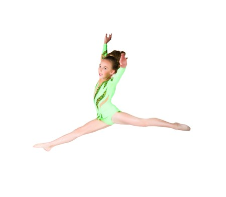 Little ballet dancer jump isolated on a white background photo