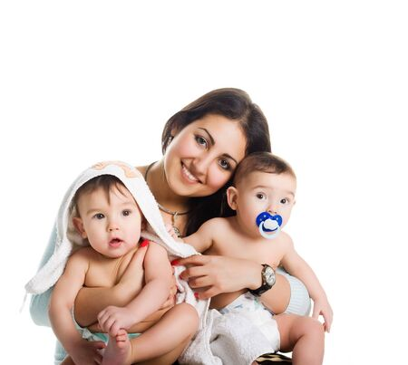 isolated on the white background: Mom with her twin sons, isolated white background